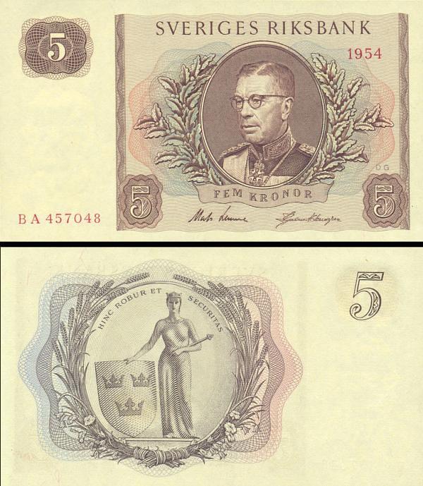 5 Korún Švédsko 1954, P42a