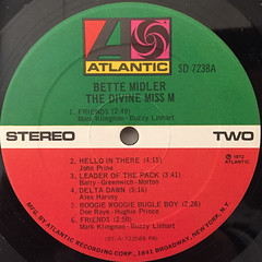 BETTE MIDDLER:THE DIVINE MISS M(LABEL SIDE-B)