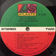 BETTE MIDDLER:THE DIVINE MISS M(LABEL SIDE-B)