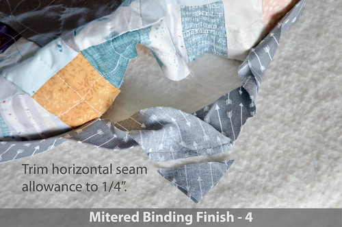 DWR:: Mitered Binding 4: Trim horizontal seam allowance to 1/4""
