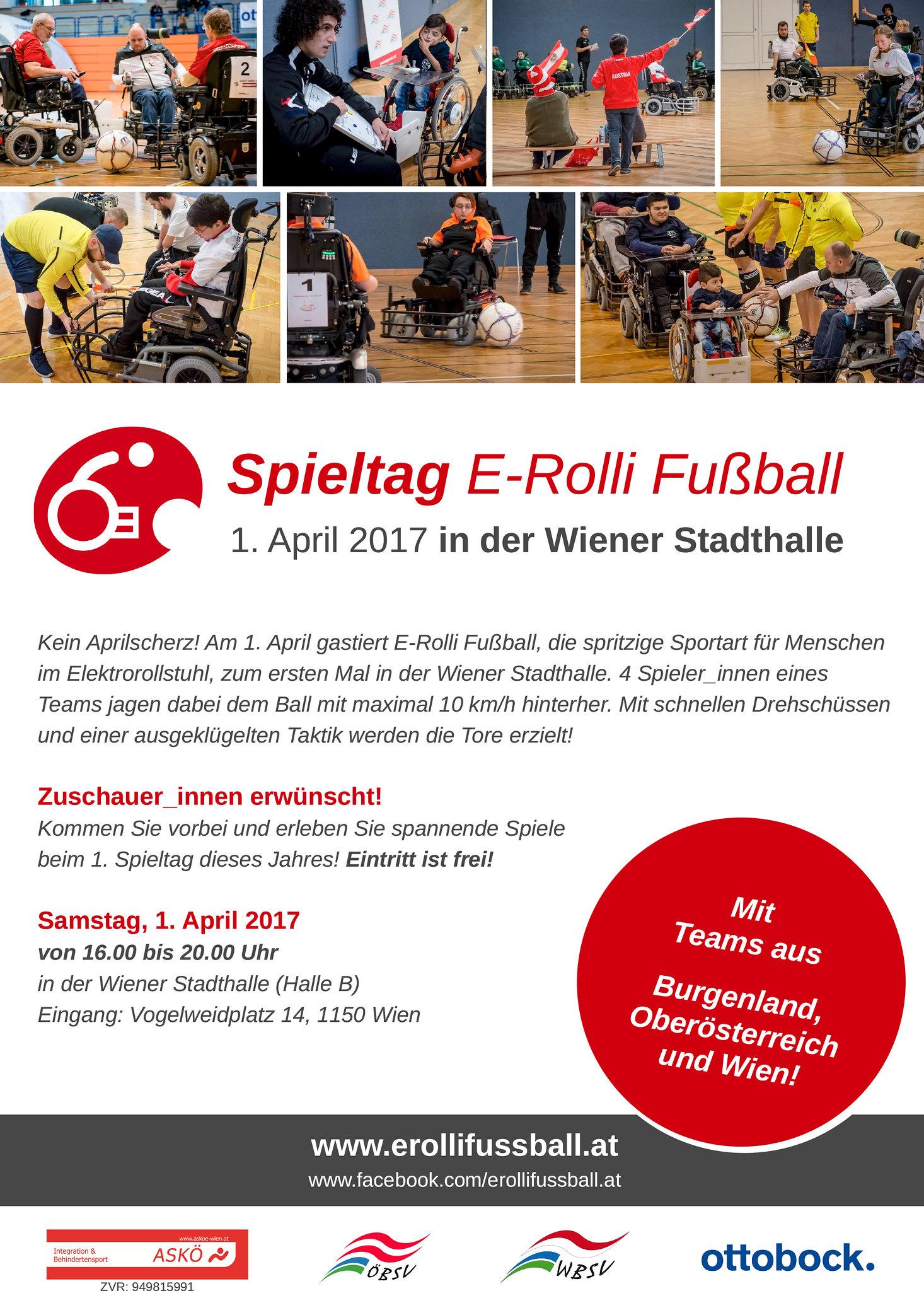 1. April 2017 – Spieltag E-Rolli Fußball in der Wiener Stadthalle
