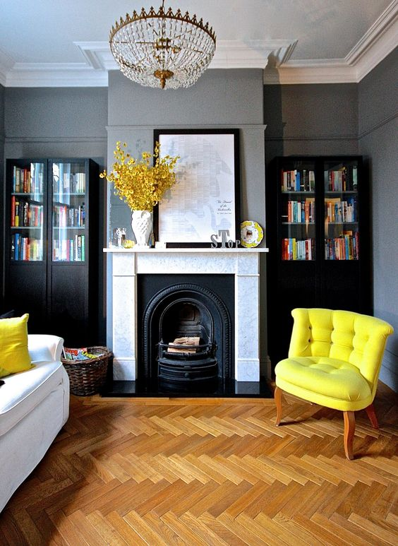 Yellow and Gray Living Room Color Scheme