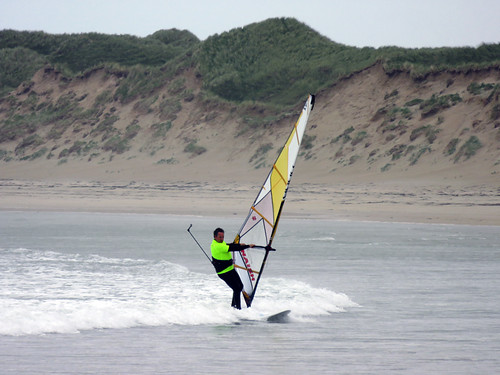 Windsurfer on Traemore Beach in Ireland
