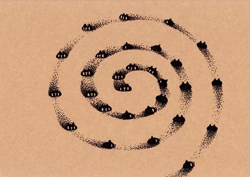 クラフト紙49_砂地で渦を巻く黒プレーン