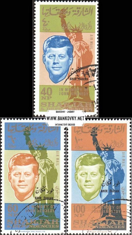 Známky Sharjah Khor Fakkan 1965, J.Kennedy razítkovaná séria