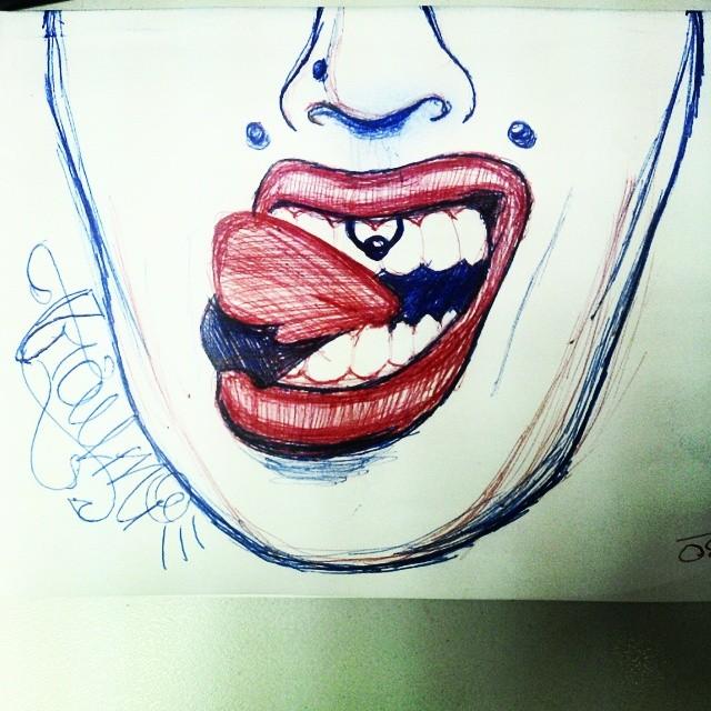 treinando 2 lábio boca batonvermelho lingua piercing flickr