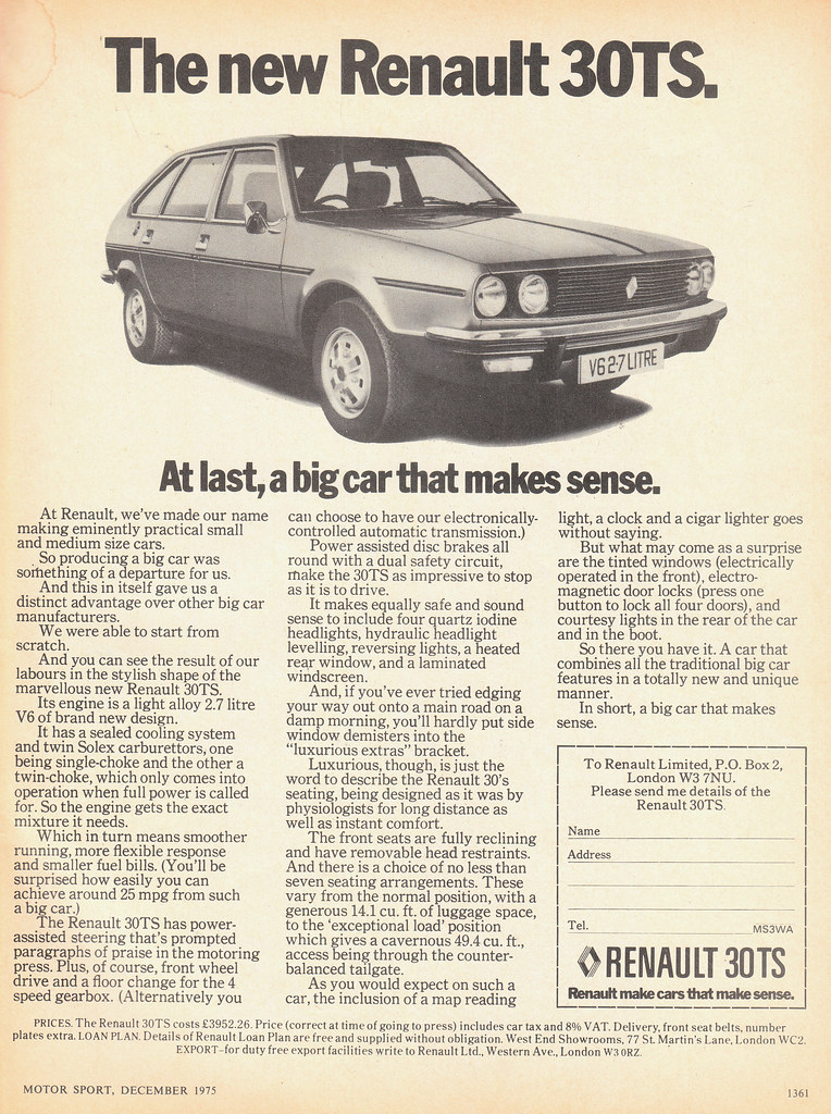 Renault 30 Ts Car Ad Scan 1975 Boo Flickr