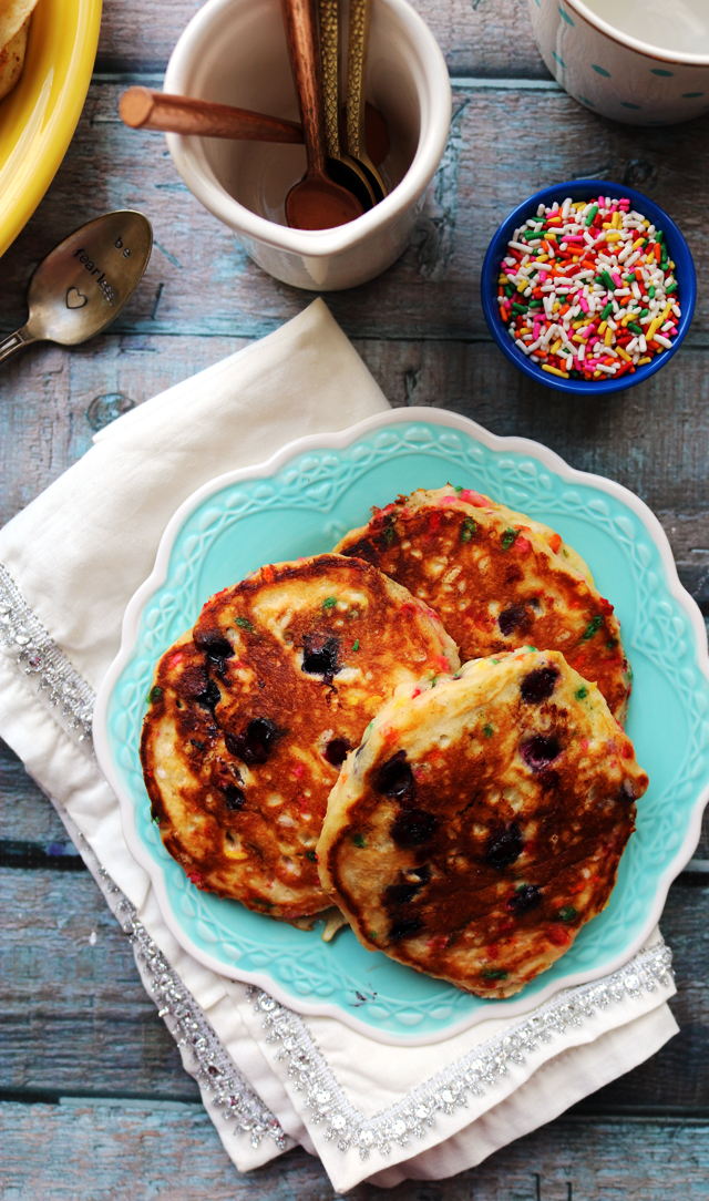 Fluffy Funfetti Blueberry Buttermilk Pancakes