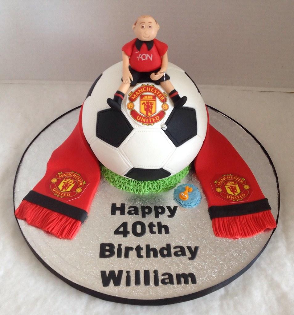 Man U Football 40th Birthday Cake