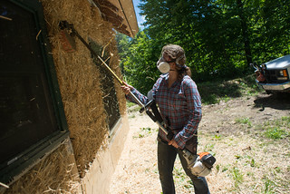 Tara Trimming Strawbales With Weed Whacker | by goingslowly