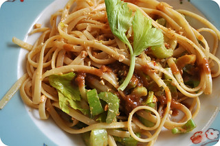 Peanut Noodles with Crunchy Celery & Celery Leaves | by powderedplum
