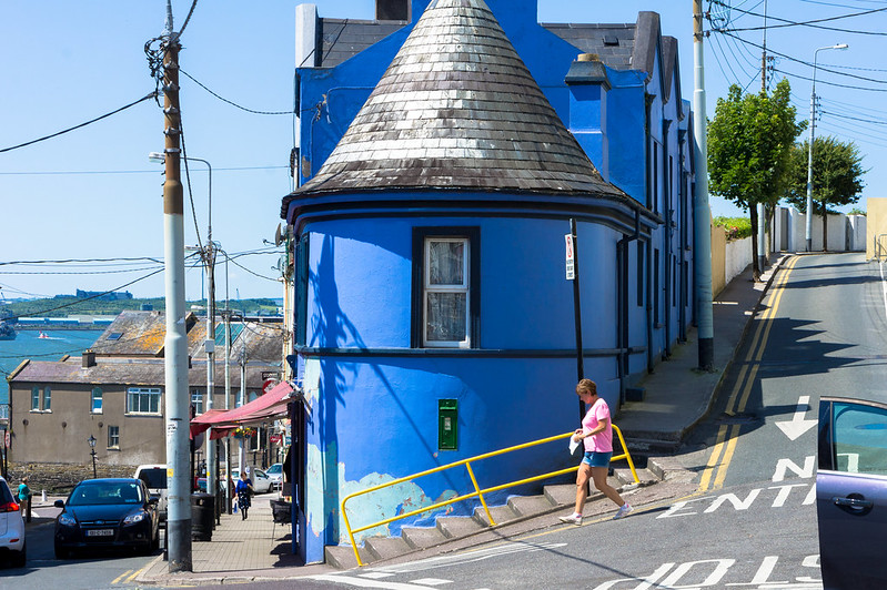 COLOURFUL BUILDING IN COBH - JUNCTION CATHEDRAL TERRACE, HARBOUR HILL,RAHILLY STREET