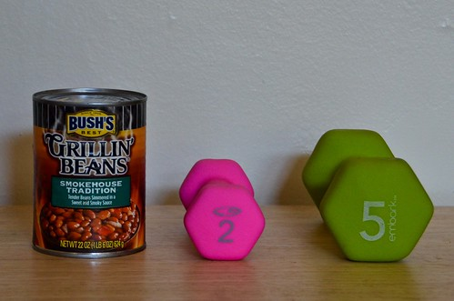 Hand weights: A <2 lb Can, 2lb, and 5lb