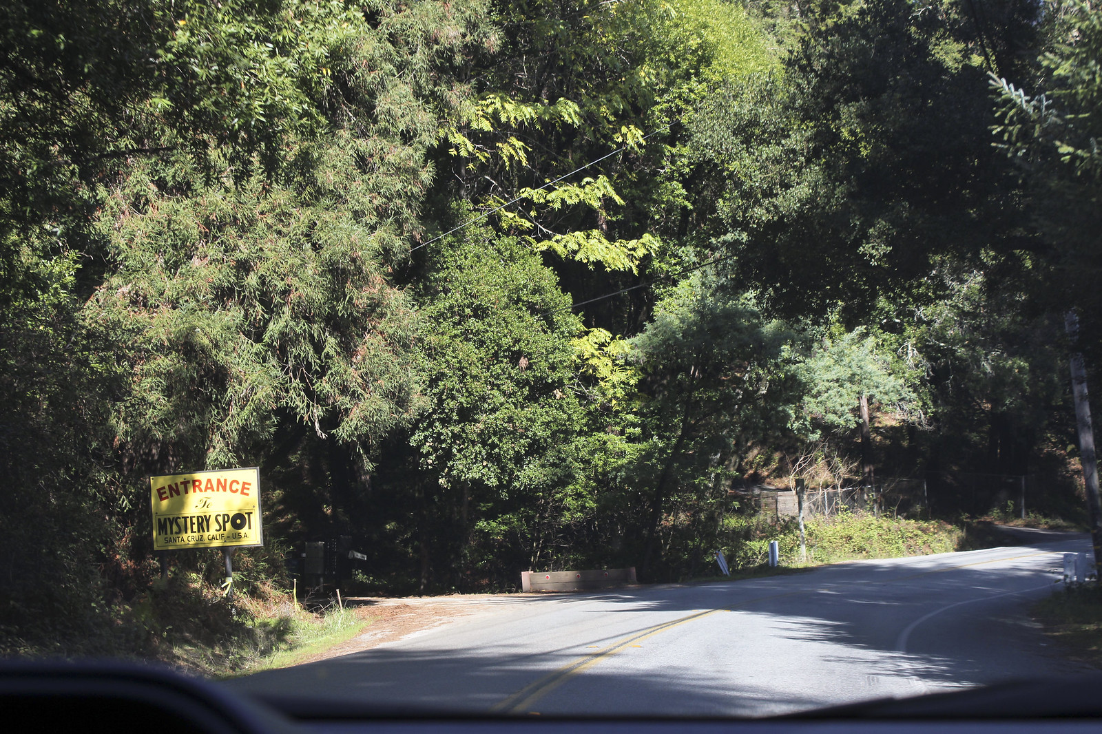 Driving into mystery spot