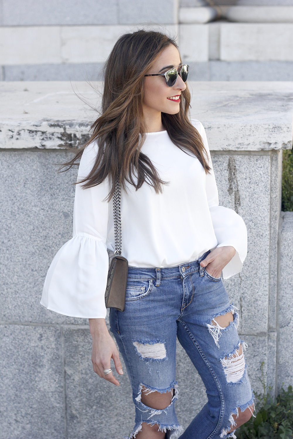 ripped keans gucci bag Jewel ballerinas uterqüe white blouse outfit style fashion03