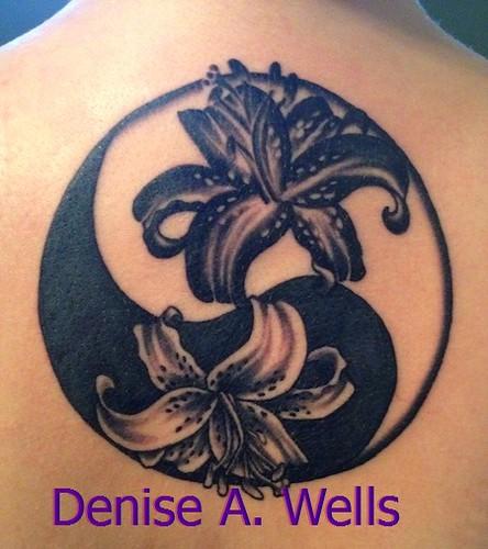 stargazer lily yin yang tattoo design by denise a wells flickr. Black Bedroom Furniture Sets. Home Design Ideas