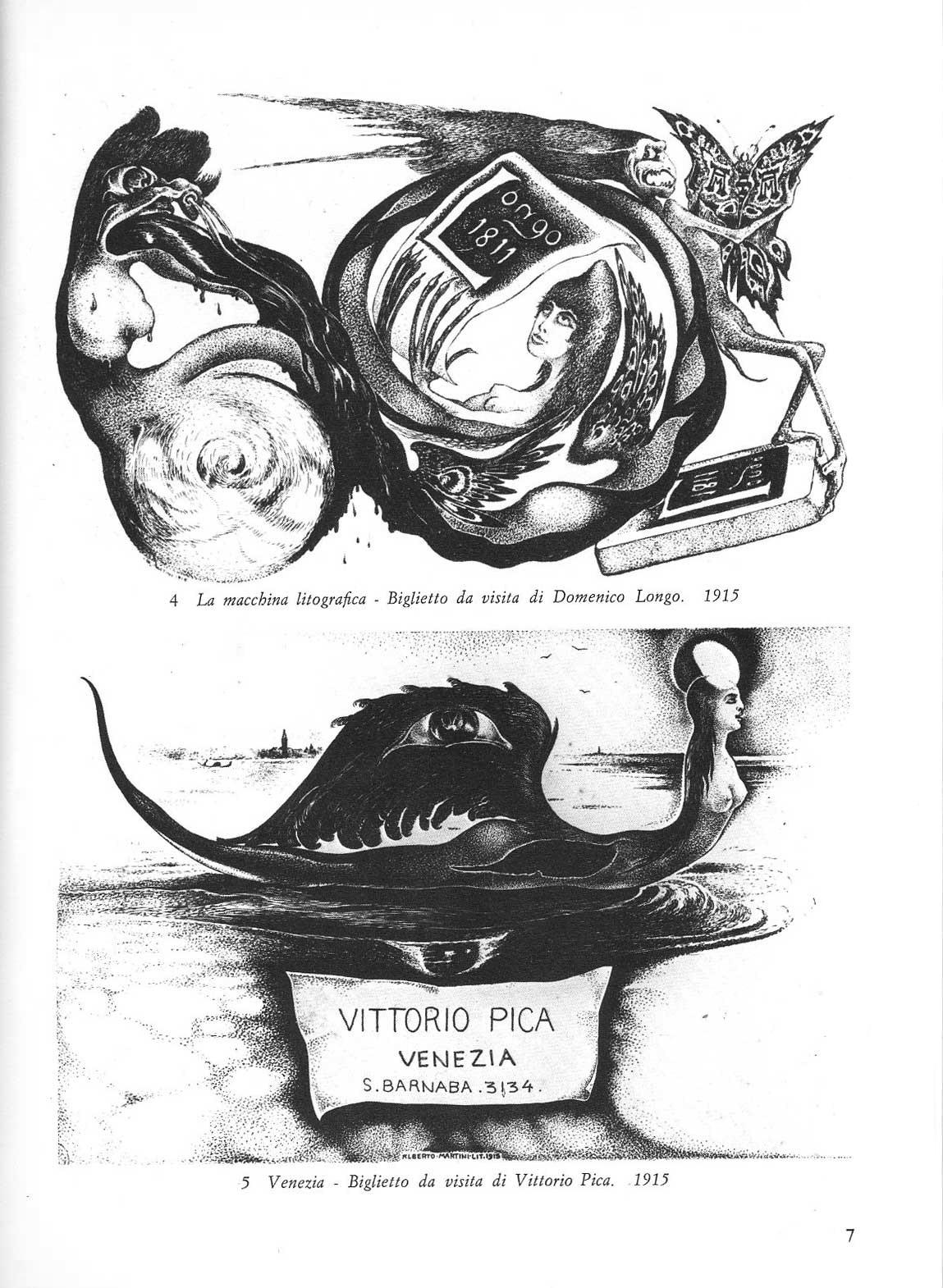 Alberto Martini - Business Cards for Domenico Longo and Vittorio Pica, 1915