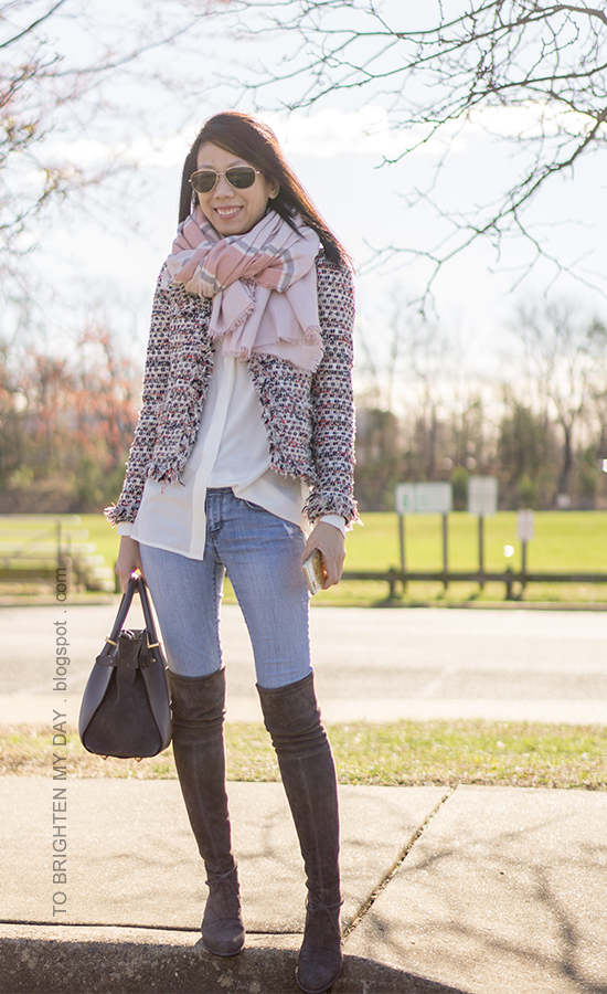 pink striped blanket scarf, tweed jacket, white silk button up shirt, lightwash jeans, gray sued over the knee boots, gray tote