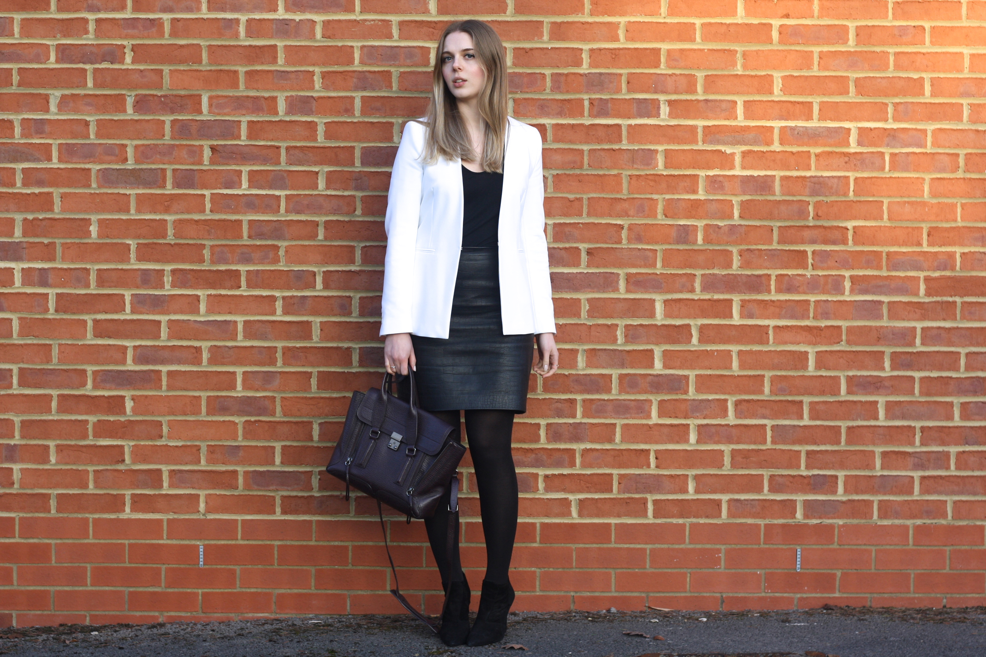 Topshop black t-shirt, Zara white jacket and 3.1 Phillip Lim Pashli bag