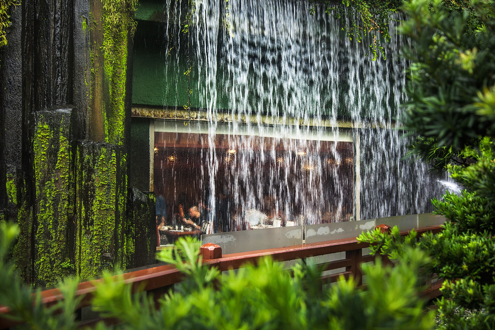 restaurant under a waterfall