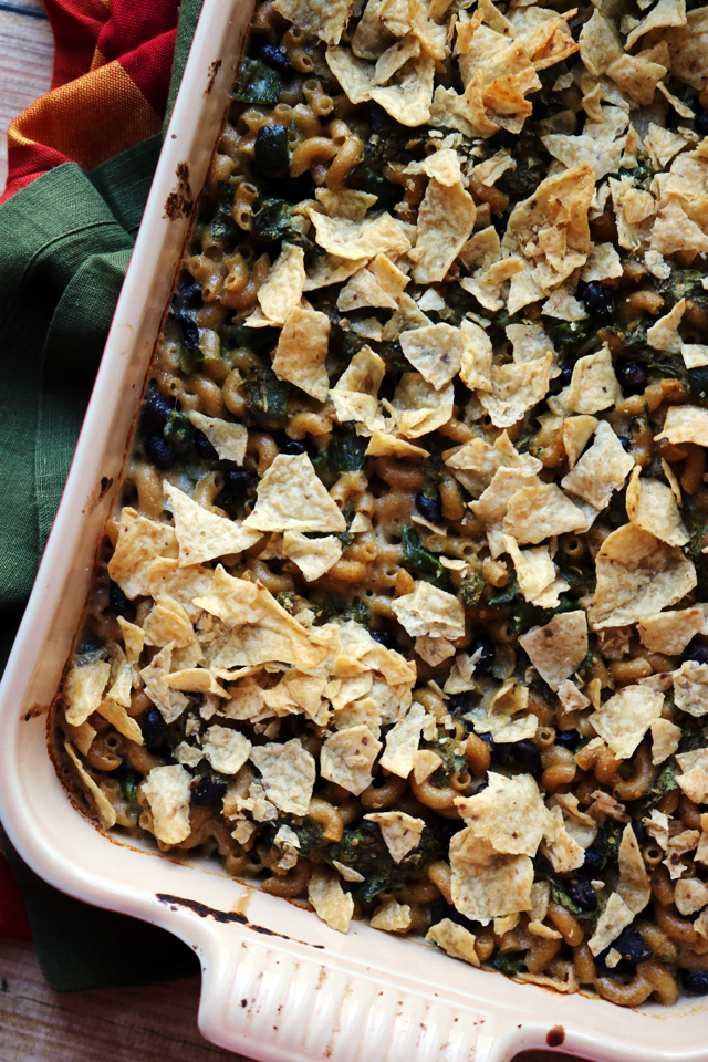 Poblano and Black Bean Nacho Mac and Cheese