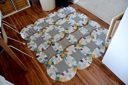 12. Sew individual circle units together to form rows.