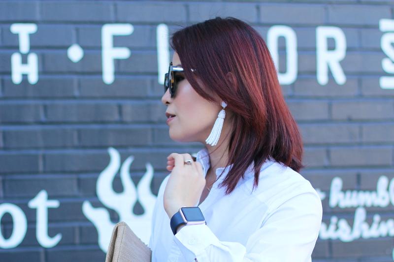 white-button-down-shirt-apple-watch-tassel-earrings-3