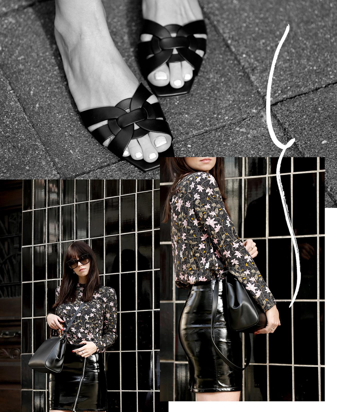 spring vibes vila floral blouse dress patent leather skirt asymmetric zipper gucci nymphaea bag saint laurent sandals cats & dogs ricarda schernus modeblogger fashionblogger outfit blogger 3
