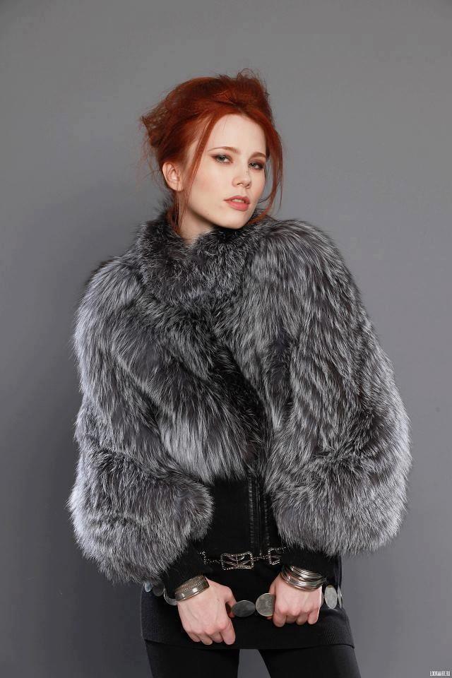 in fur top Redhead