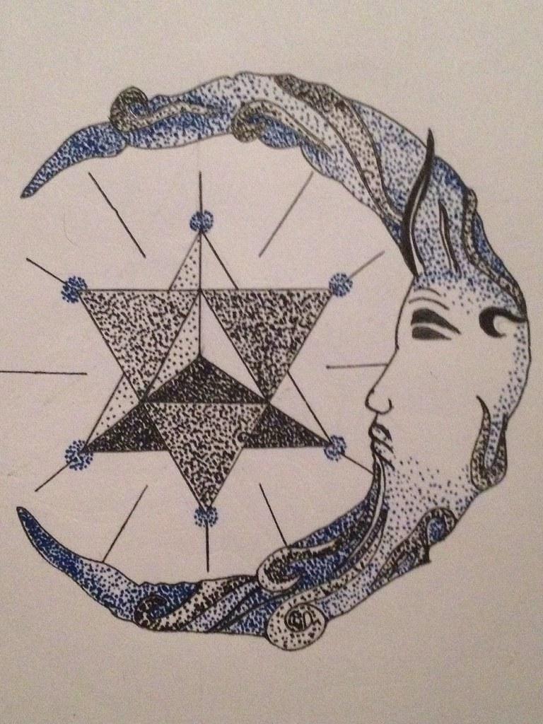 Tattoo Design Drawing Sketch Pen Art Moon Face Geometry
