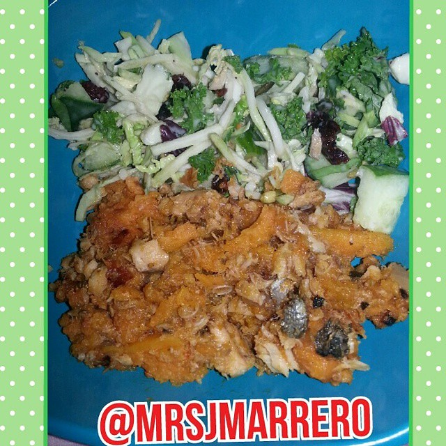 Dinner - Sweet Potato Salmon Hash, mix greens salad, dried… | Flickr