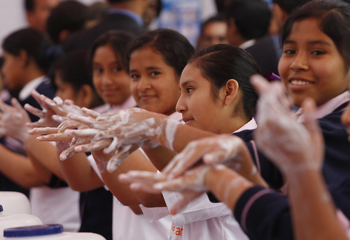 Students handwashing with soap | by World Bank Photo Collection