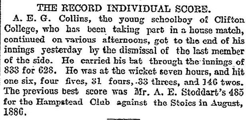27th June 1899 - Highest score at cricket : 628 by A.E.G. Collins | by Bradford Timeline