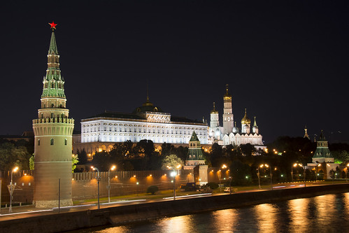 The Kremlin is at night in Moscow on August 3, 2014. | by ikhou