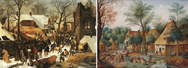 左)ピーテル・ブリューゲル(子)《東方三博士の礼拝》(制作年不詳、プラハ国立美術館蔵) 右)ピーテル・ブリューゲル(子)《フランドルの村》(制作年不詳、プラハ国立立美術館蔵)