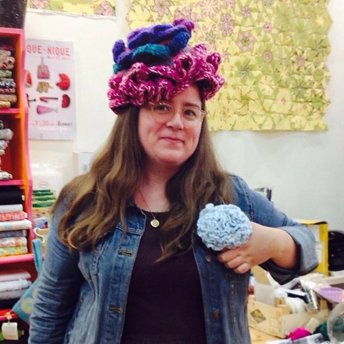 Work #selfie from yesterday. Crocheted flower hat & corsage. | by bunnieprops