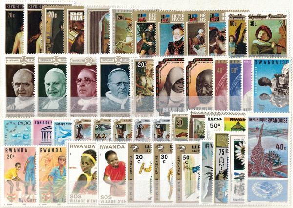 Známky Rwanda, rôzne série 46 ks narazítkované MINT