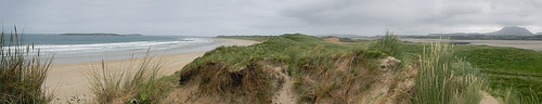 A panorama of Traemore Beach in Ireland