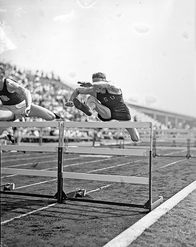 [Glenn Hardin competing in hurdles at the 1936 Randall's Island Olympic trials, New York, NY] | by SMU Central University Libraries