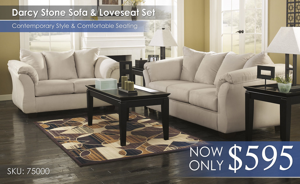 Darcy Stone Sofa & Loveseat 75000-38-35-T131-R135-SD