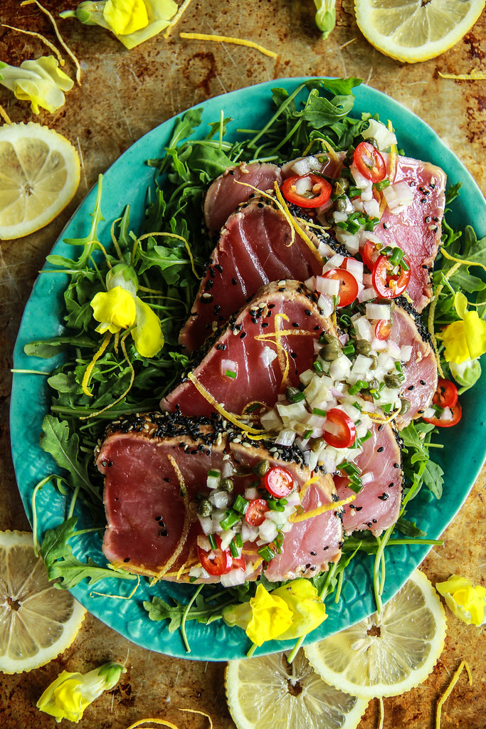Seared Tuna Salad with Lemon Caper Dressing