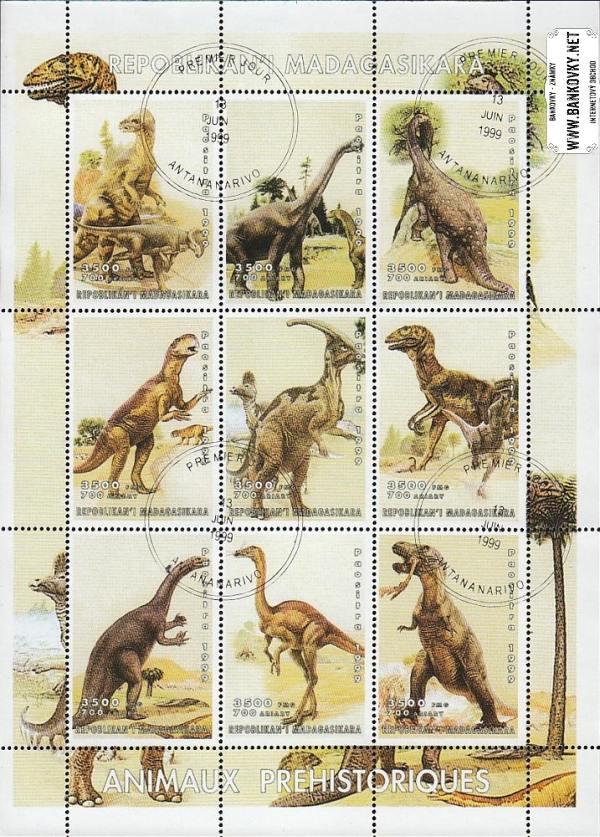 Známky Madagaskar 1999 Dinosaury, razítkovaný hárček