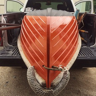 Dinghy movin' time. #woodenboat #sailing #sailboat #tender #ORANGE! | by kindreds unite
