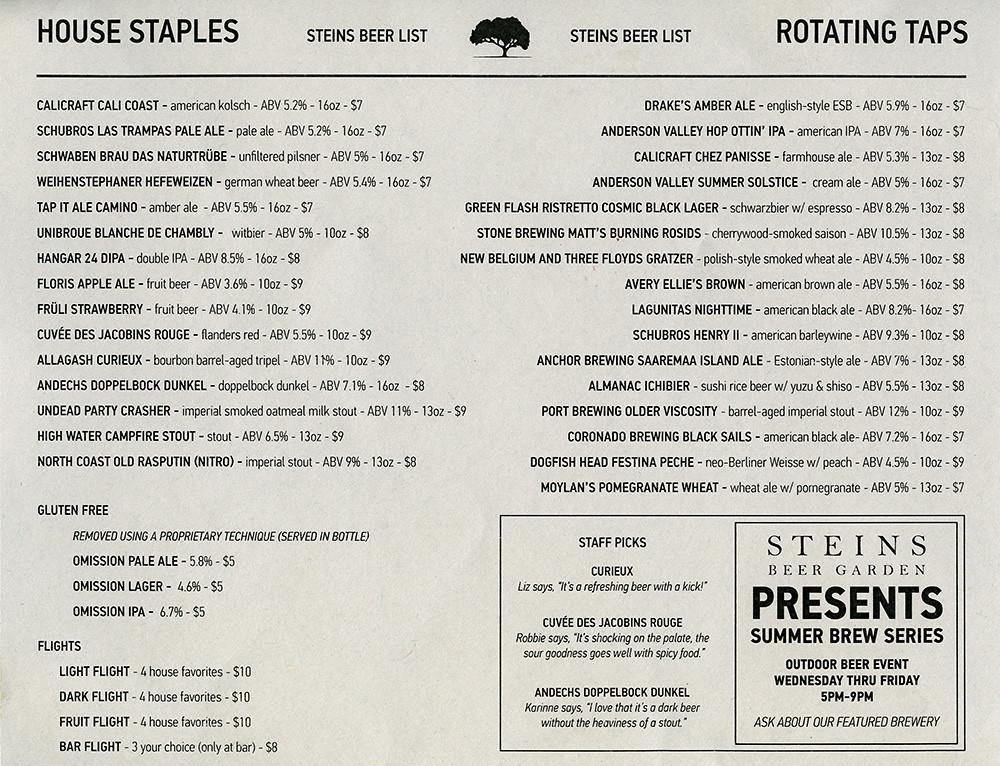 ephemera steins beer garden beer menu by jassy 50 - Steins Beer Garden