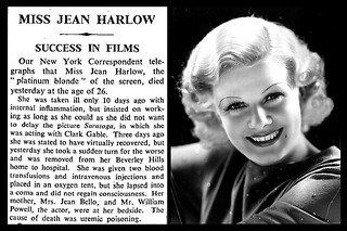7th June 1937 - Death of Jean Harlow | by Bradford Timeline