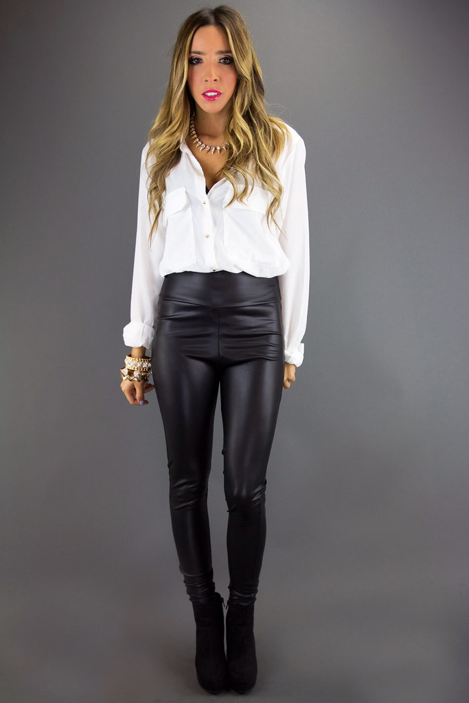 White button up blouse & black leather pants | ejt1977 | Flickr