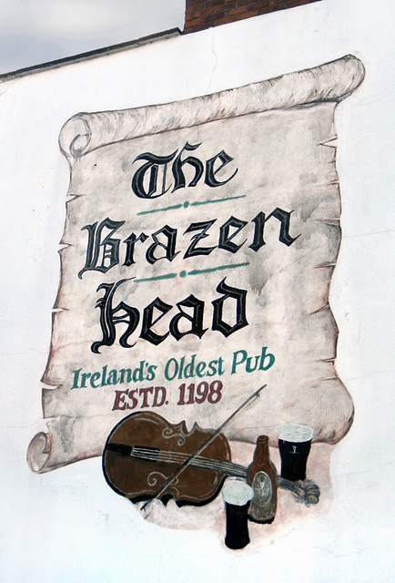 The Brazen Head Pub sign, the oldest pub in Dublin, Ireland