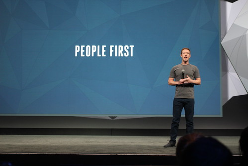 Mark Zuckerberg on stage at Facebook's F8 Conference | by pestoverde