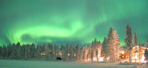 Kangos Pinetree Lodge with northern light | by Greenland Travel