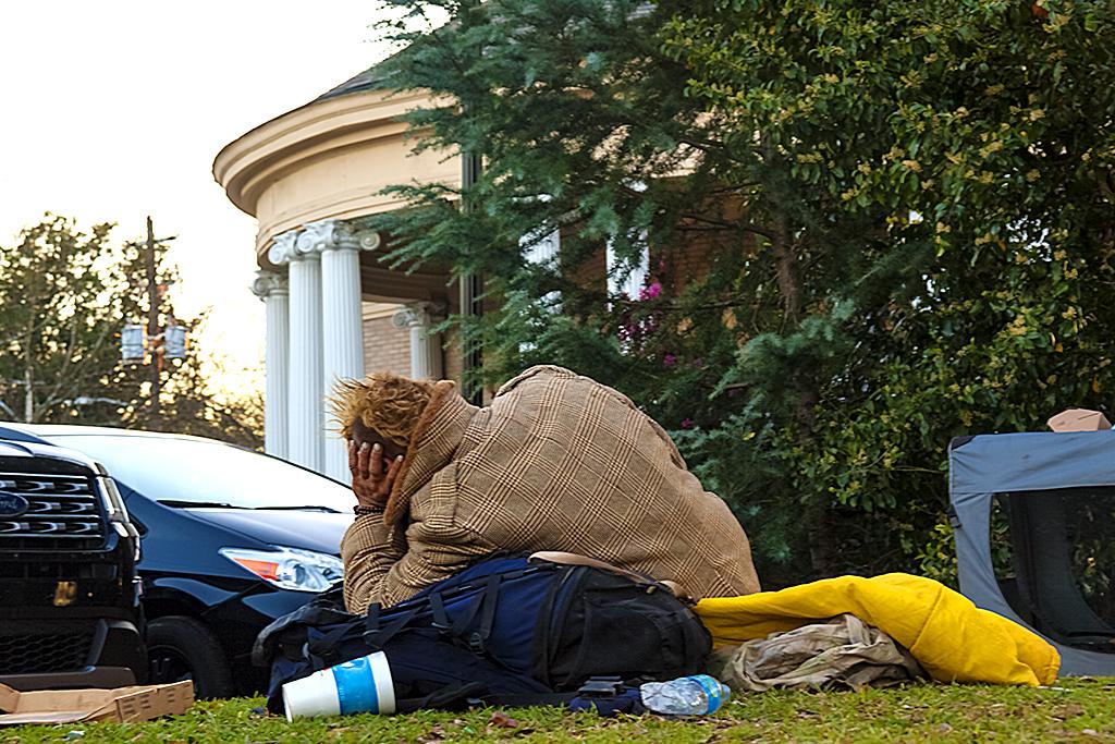 Homeless man near Wrecking Bar Brewpub--Atlanta